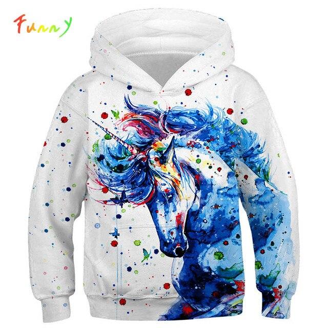 Moda 3D jednorożec bluzy bluza dziewczyny chłopcy tęczowy koń zwierząt drukowane cienka, długa rękaw dzieci bluza z kapturem maluch płaszcz z kapturem