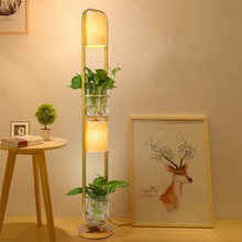 American style iron floor lamp Simple living room study bedroom vertical can place plant hydroponic decoration warm floor lamp(China)