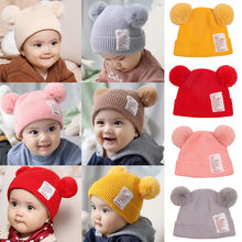 Winter Baby Boy Girl Hat Cute Bear Toddler Earflap Beanie Warm Crochet Knit Cap Solid color double ball cap baby warm winter hat(China)
