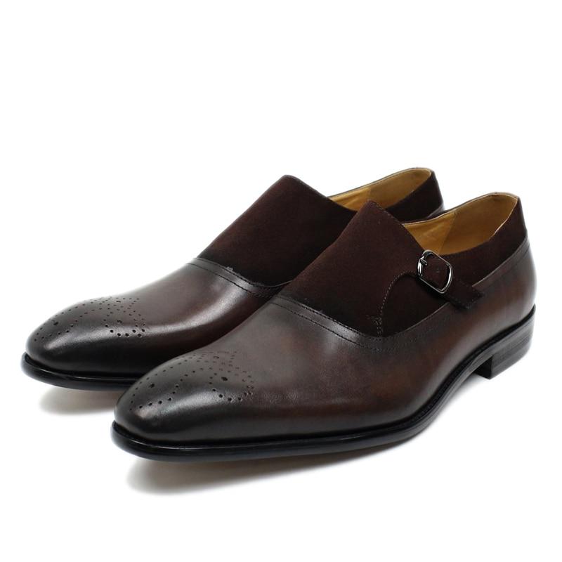 클래식 신사 스님 스트랩 드레스 신발 정품 가죽 스웨이드 지적 발가락 버클 스트랩 남자 정장 신발 캐주얼 비즈니스-에서포멀 슈즈부터 신발 의  그룹 1