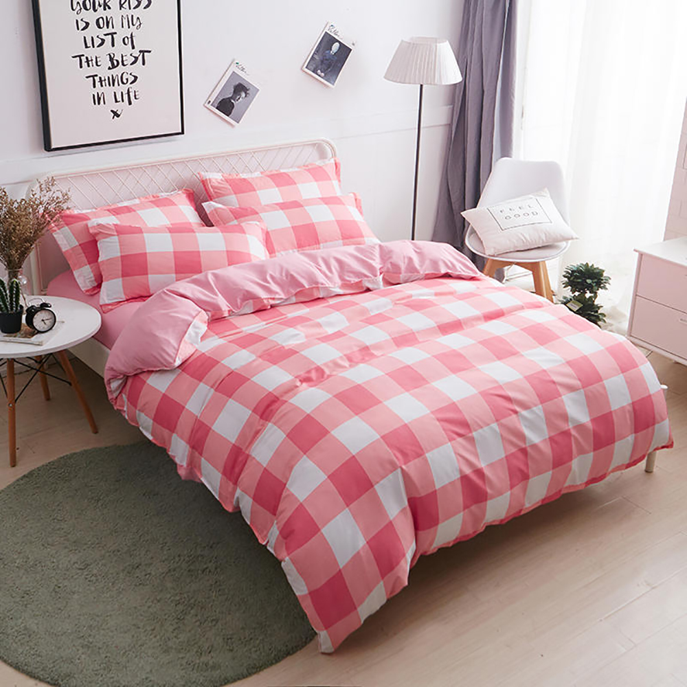 Thumbedding Pink Plaid Bedding Set For Girls Classic Sweet Simple Duvet Cover Single King Queen Full Twin Unique Design Bed Set