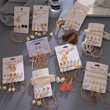FNIO Fashion Circle Round Pearl Hoop Earrings Set For Women Bohemian Acrylic Crystal Brincos 2020 Earring fashion Jewelry