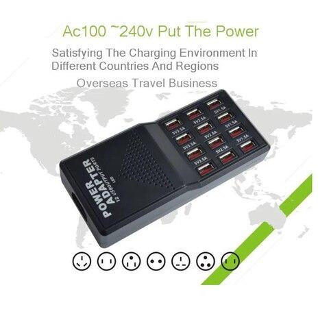 Vogek US Plug Travel Charger Smart Charging Station 5V12A  Multi USB Desktop Charger 12 USB Ports Quick Charge Adapter Multan