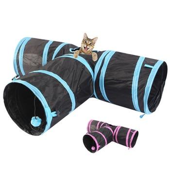 Forma T túnel para Gatos juguetes plegable 3 agujeros Gatos domésticos juguete de entrenamiento juego interactivo interior al aire libre mascota Tunel Gatos Accesorios