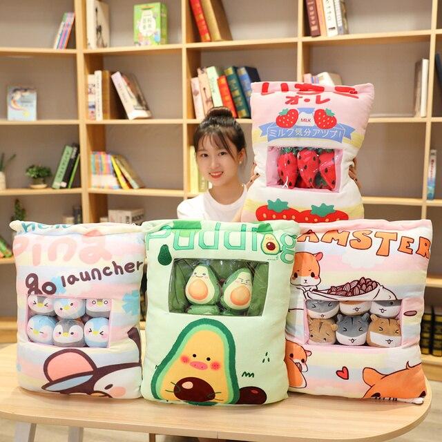 Pudding Bag Plushie Mini Animal Balls Fruit Hamster Penguin Avocado Strawberry Food Plush Snack Pillow Bag 8 Pieces Xmas Gift 1