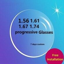1.56 1.61 1.67 1.74 lentes de óculos progressivos para olhos asféricos prescrição óptica miopia óculos de leitura 7 10 dias personalizado