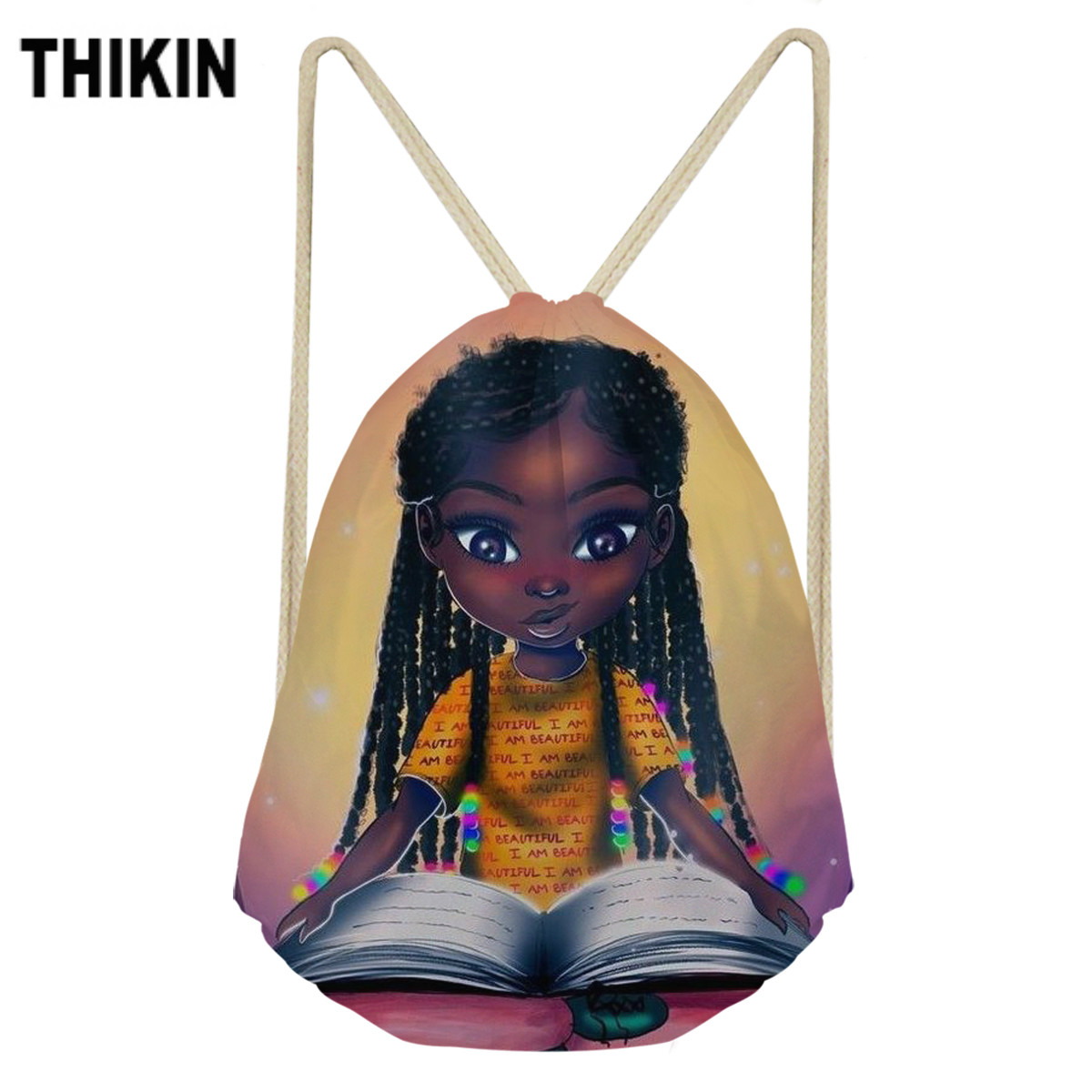 ThiKin Cute Black African Girls Print Drawstring Bag Children Backpacks For Teenager Boys Small Storage Bags Daily Backpack