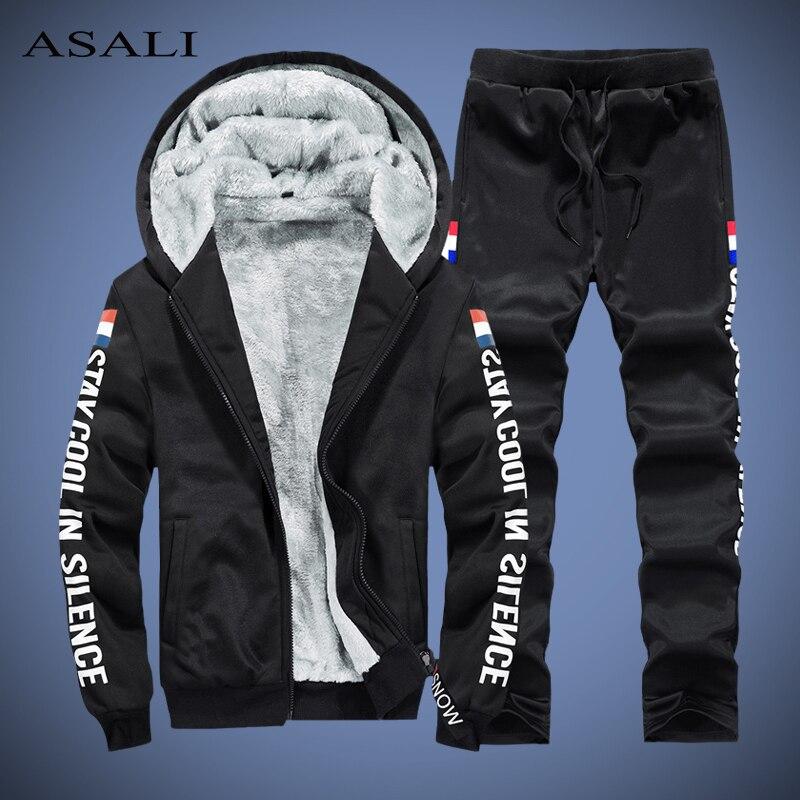 Thick Tracksuit Men Winter Fleece Men's Set Outwear Warm Hoodie Sets Jacket + Pants Man Track Suit Mens Clothing Vetement Homme