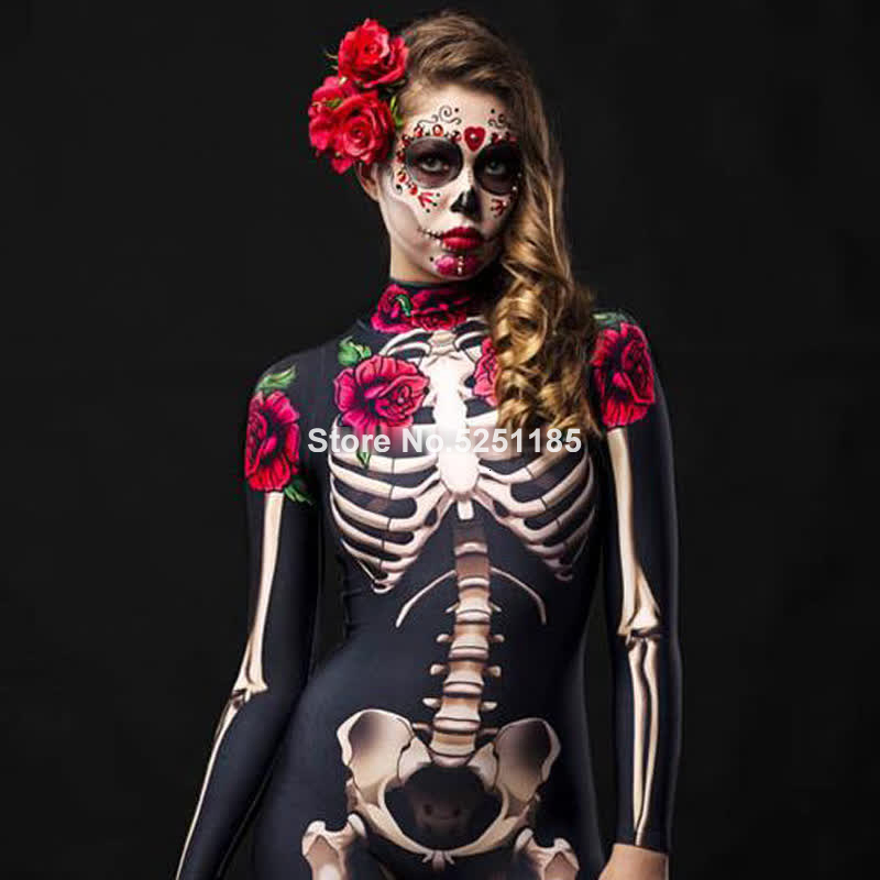 <font><b>Women</b></font> Cosplay Skeleton Rose <font><b>Sexy</b></font> Bodysuit <font><b>Halloween</b></font> Devil Ghost Specter Jumpsuit Romper Party Carnival Performance Scary Costume image