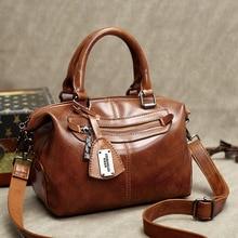 цена на High Quality Genuine Leather Bag Vintage Luxury Handbag Women Bag Designer Portable Single Shoulder Messenger Bag Totes Ladies