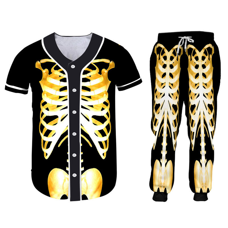 Custom S-7XL Skeleton Zipper Hoodie Jackets+Pants 2pcs Men's Sets Gothic 3D Gold Skull Print Unisex Sweatshirt Pants Sportsuit (2)