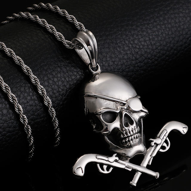 STAINLESS STEEL ONE EYED SKULL HEAD NECKLACE