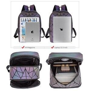 Image 4 - Fashion Women Backpack Mochila Geometric Luminous Backpacks Bagpack Girls Noctilucent Travel Shoulder Bags For School Back Pack