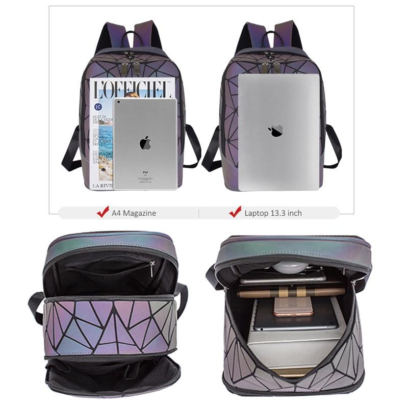 Image 4 - 패션 여성 배낭 mochila 기하학적 빛나는 배낭 bagpack 소녀 noctilucent 여행 어깨 가방 학교 다시 팩에 대 한백팩수화물 & 가방 -
