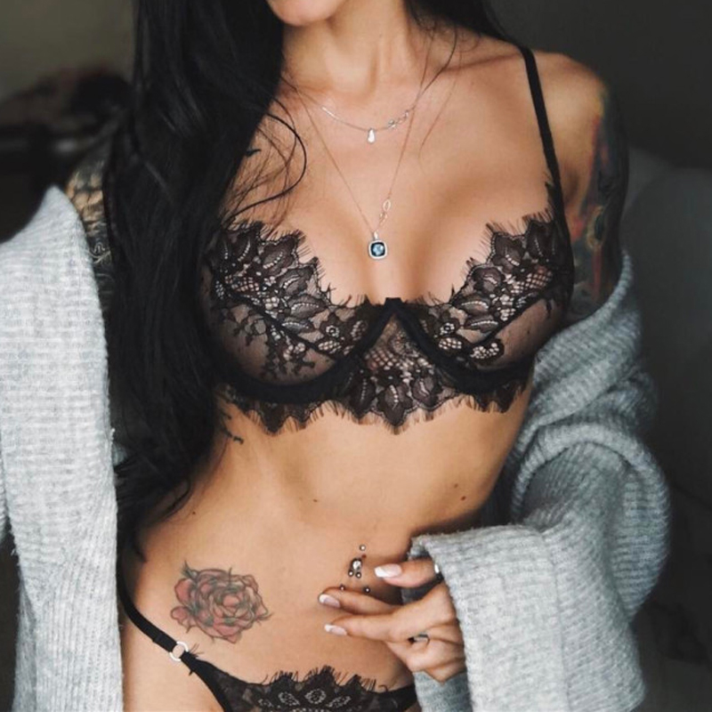 Sexy Lace Bra Set A-F Cup Push Up Perspective Lingerie Bikini Ultra-Thin Openwork Set Top Underwear Women White Black  Woman