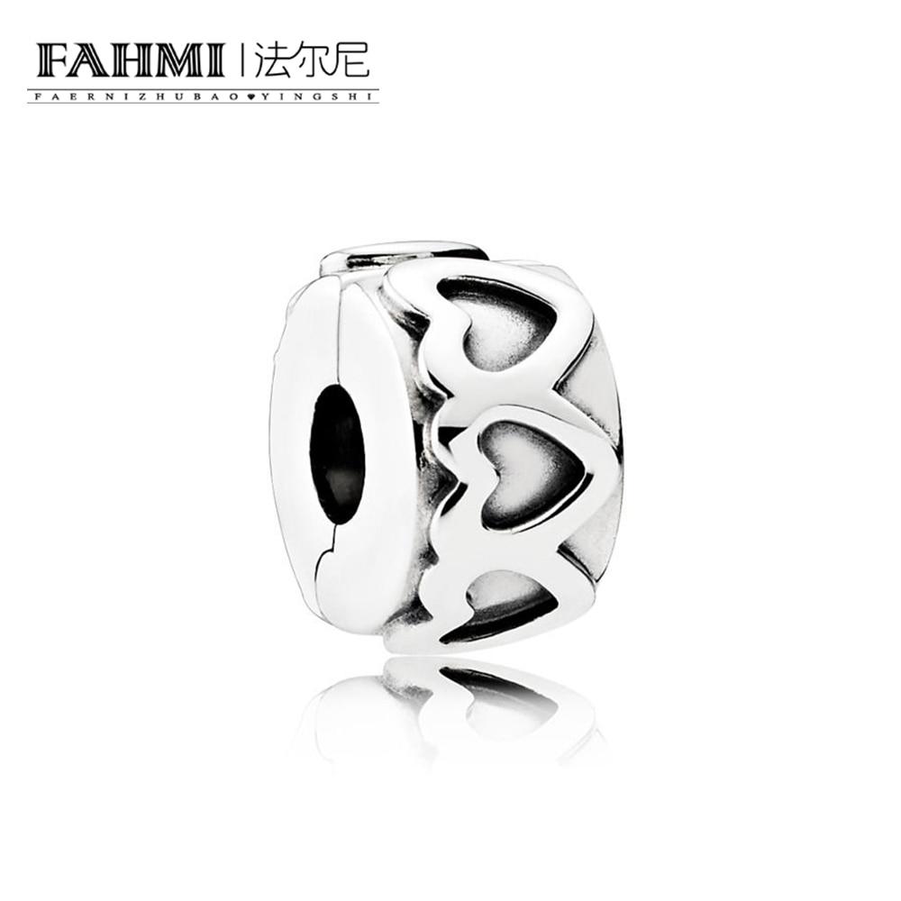 FAHMI 100% 925 Sterling Silver 1:1 Genuine Gem 791978 ROW OF HEARTS SPACER CLIP Fit DIY Bracelet Original Women Wedding Vintage