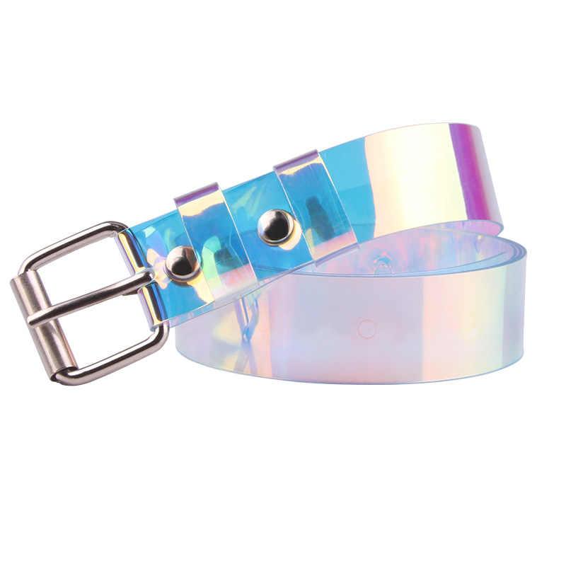 2019 Moda Mulheres Cinto de Laser Holográfico Transparente Claro Pin Fivela larga Faixas de Cintura Cós Cinto Invisível Cintura Do Punk Presente