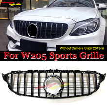 GTS style Front Grille grill W205 C205 C Class Models without 360 Camera ABS Black W205 Front Grille grills without  sign 19-in for w205 amg black front grille for mercedes c class w205 c205 s205 without centre logo