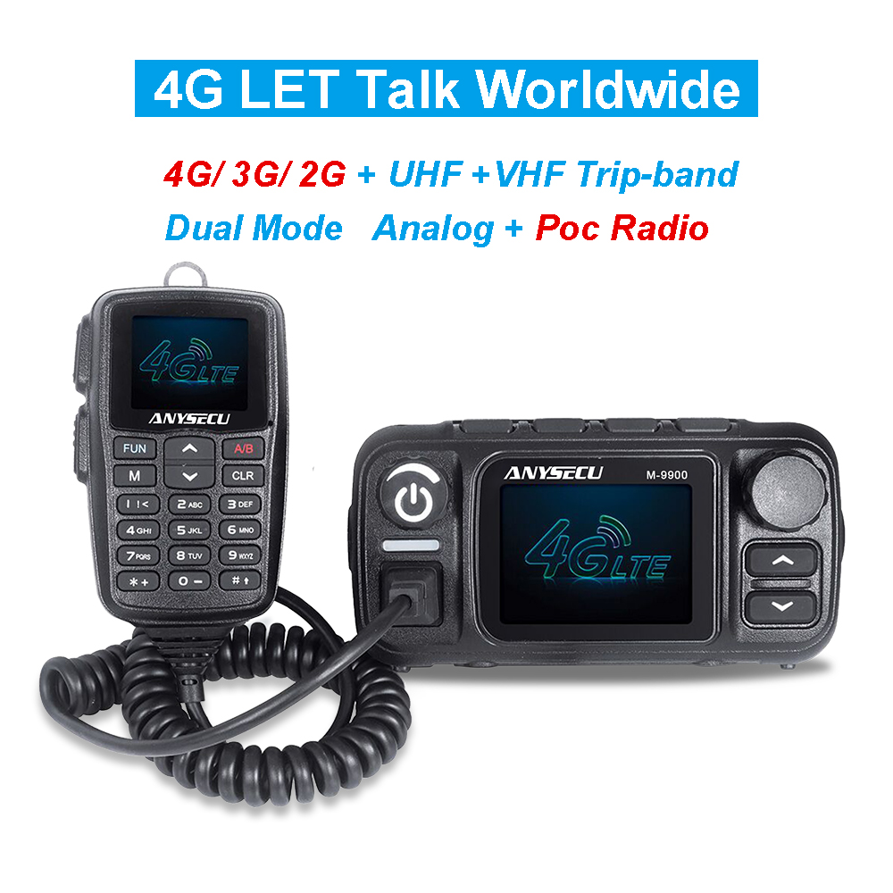 ANYSECU 4G LTE Band And UHF VHF Dual Band 25W M-9900 Cross Band Mobile Radio M-9900 SIM Card Mobile Radio With USB Cable
