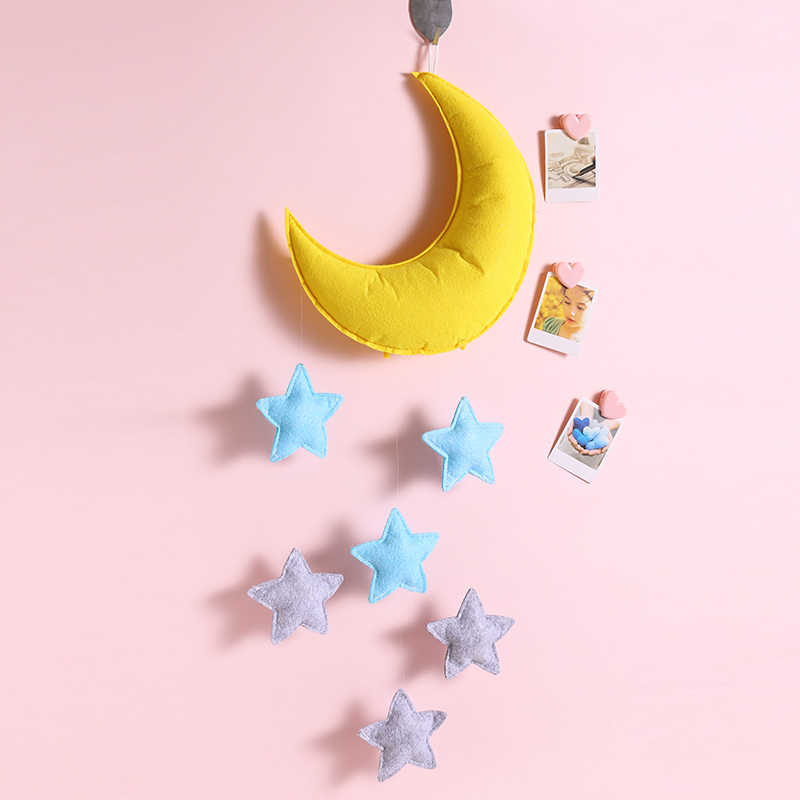 Handmade Cotton Felt Stuffing Moon Star Hanging Decor Baby Mobile Crib Nursery Ceiling Decoration Kids Room Bedroom