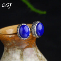 CSJ Vintage Natural Lapis Lazuli Sterling 925 Silver Earring Thai Silver Fine Jewelry Women Femm Lady Wedding Party mom gift box