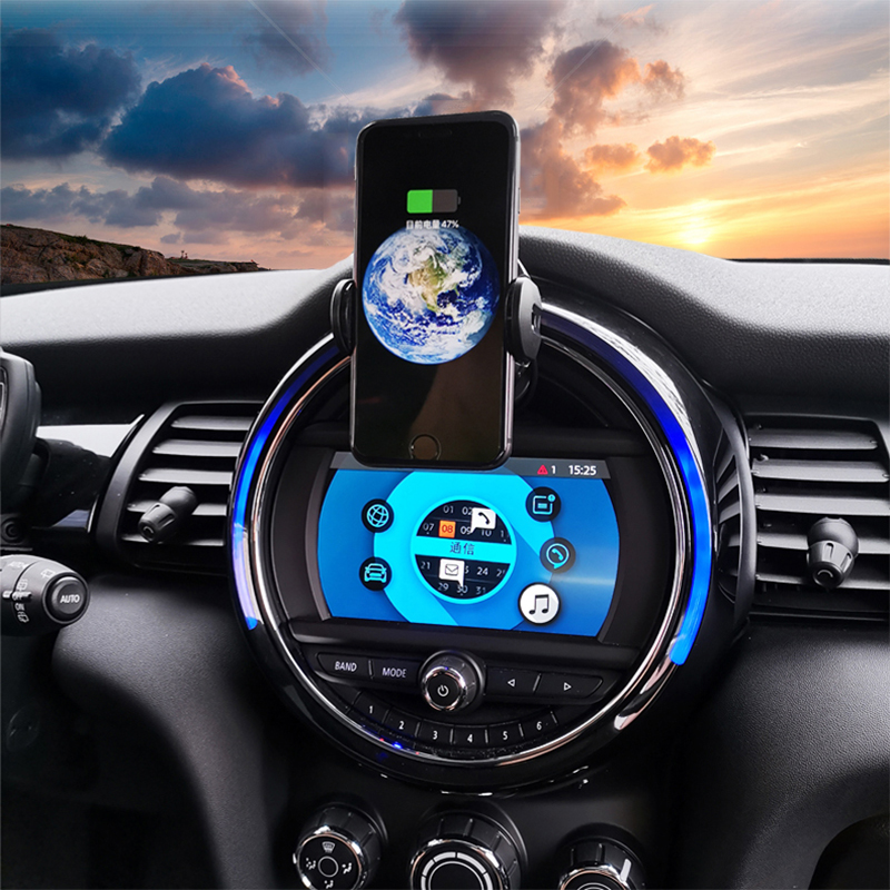 Linson 15W Clamping Car Wireless Charger Quick Charge For Mini Cooper S JCW One F54 F55 F56 F60 Qi Infrared Sensor Phone Holder