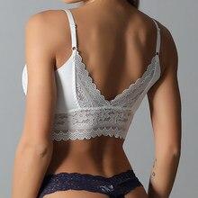 Backless Sexy kobiety Push Up bezprzewodowy koronkowy Top biustonosz kobiety Plus rozmiar Bralette bielizna bielizna pełny kubek głęboki dekolt na plecach bielizna