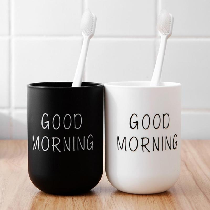 Home Simple Bathroom Toothbrush Toothpaste Holder Round Washing Tooth Cup Hot Sale PP Drinking Glass Tooth Mug Traveling Camping image