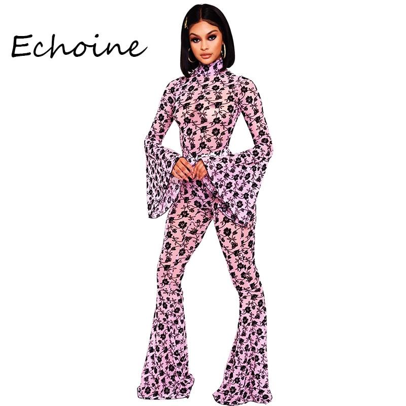 Fashion Print Floral Turtleneck Flare Sleeve 2 Piece Set Playsuit + Long Pants Women Jogging Femme Women Clothes Outfits