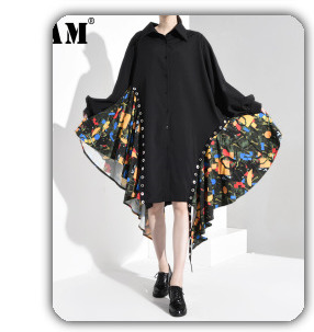 [EAM] 2020 New Spring Lapel Long Sleeve Solid Color Black Gray Split Joint Loose Big Size Jacket Women Fashion JC969 81
