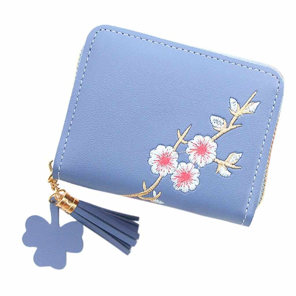 Women' s Handbags Outdoor Fashion Trend Solid Color Flower Fringed Leather Card Wallet Women's Small Change Mini Money Hand Bag