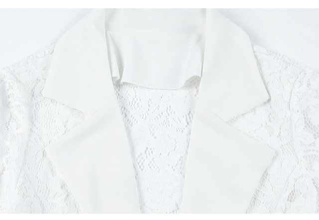 Jacket Women 2021 Long Sleeve V-neck Office Women Jacket 3XL 4XL  Jacket Black White Hollow Lace Jacket Coat Women D105 5