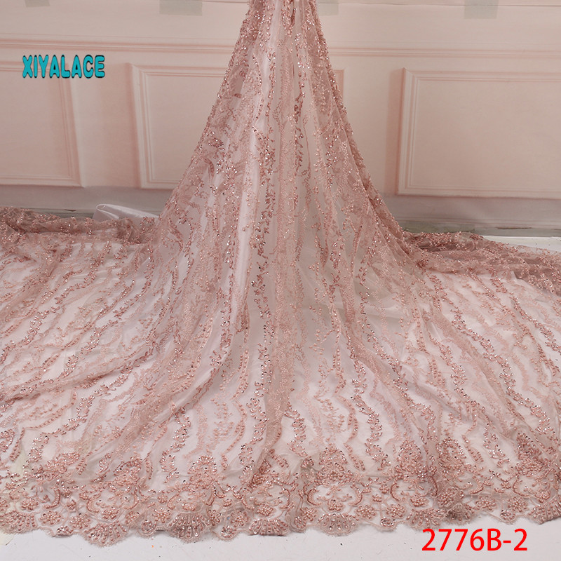 2019 African French Lace Fabric High Quality Handmade Embroidery With Beads Wedding Nigerian Laces Fabric For 5 Yards YA2776B-2