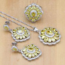 Conjunto de joyería de plata 925 con gemas de zirconia cúbica, pendientes, colgante, collar, anillo, color amarillo claro Natural