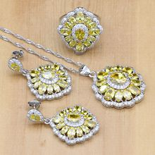 Silver 925 Jewelry Natural Light Yellow CZ Costume Jewelry Sets For Women Bride Earrings/Pendant/Necklace/Ring