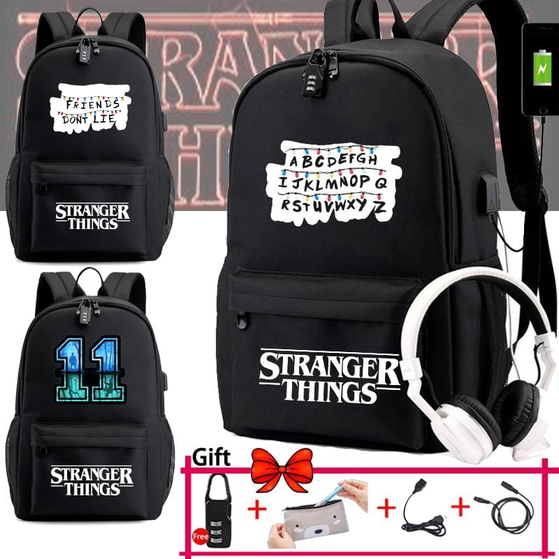 IMIDO Stranger Things Backpacks For School Students Usb Charging Large Capacity Travel Bag Breathable New Shoulders Backpack