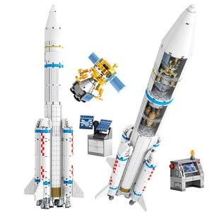 Shenzhou 5 Аэрокосмическая криогенная жидкость в комплекте несущая ракета строительные блоки город модели наборы Кирпичи Классические для дет...
