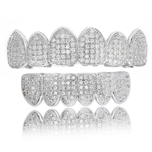 Hip Hop Cubic Zircon Teeth Grillz Top Bottom Grills Dental Mouth Punk Tooth Caps Cosplay Rapper Jewelry