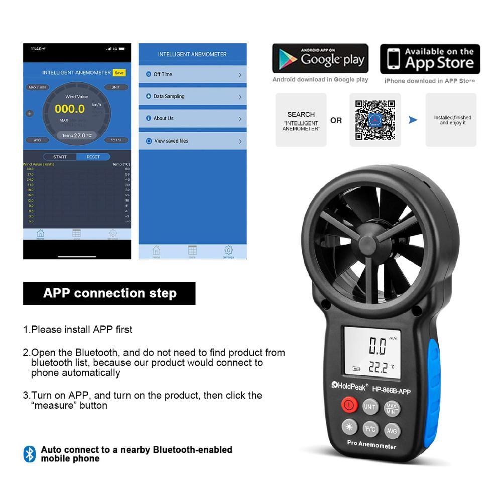HoldPeak HP-866B-APP 0.3~30m/s Digital Anemometer With Mobile APP Wind Speed Meter Measures Temperature Wind Chill Backlight