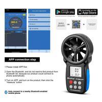 HoldPeak HP-866B-APP 0.3 m/s ~ 30 Medidor de Velocidade do Vento Anemômetro Digital Com APLICATIVO Móvel Mede A Temperatura Do Vento Frio Backlight