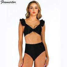 Летний черный сексуальный треугольный комплект бикини, Женский Одноцветный купальник с листьями лотоса, купальник, пляжная одежда, женский купальник с высокой талией, бикини