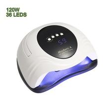 120W LED UV 램프 네일 건조기 LED 네일 화이트 라이트 네일 젤 매니큐어 기계 타이머 버튼 LCD 화면 네일 아트 도구