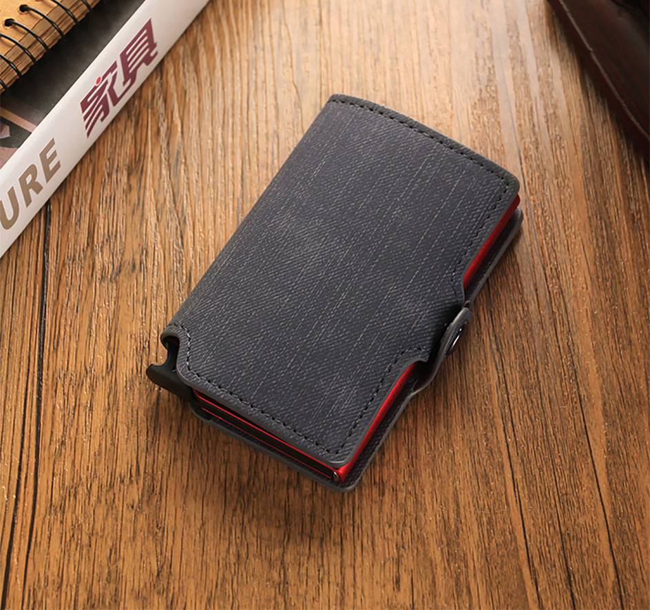 Dienqi carteira masculina de couro, porta-cartão em