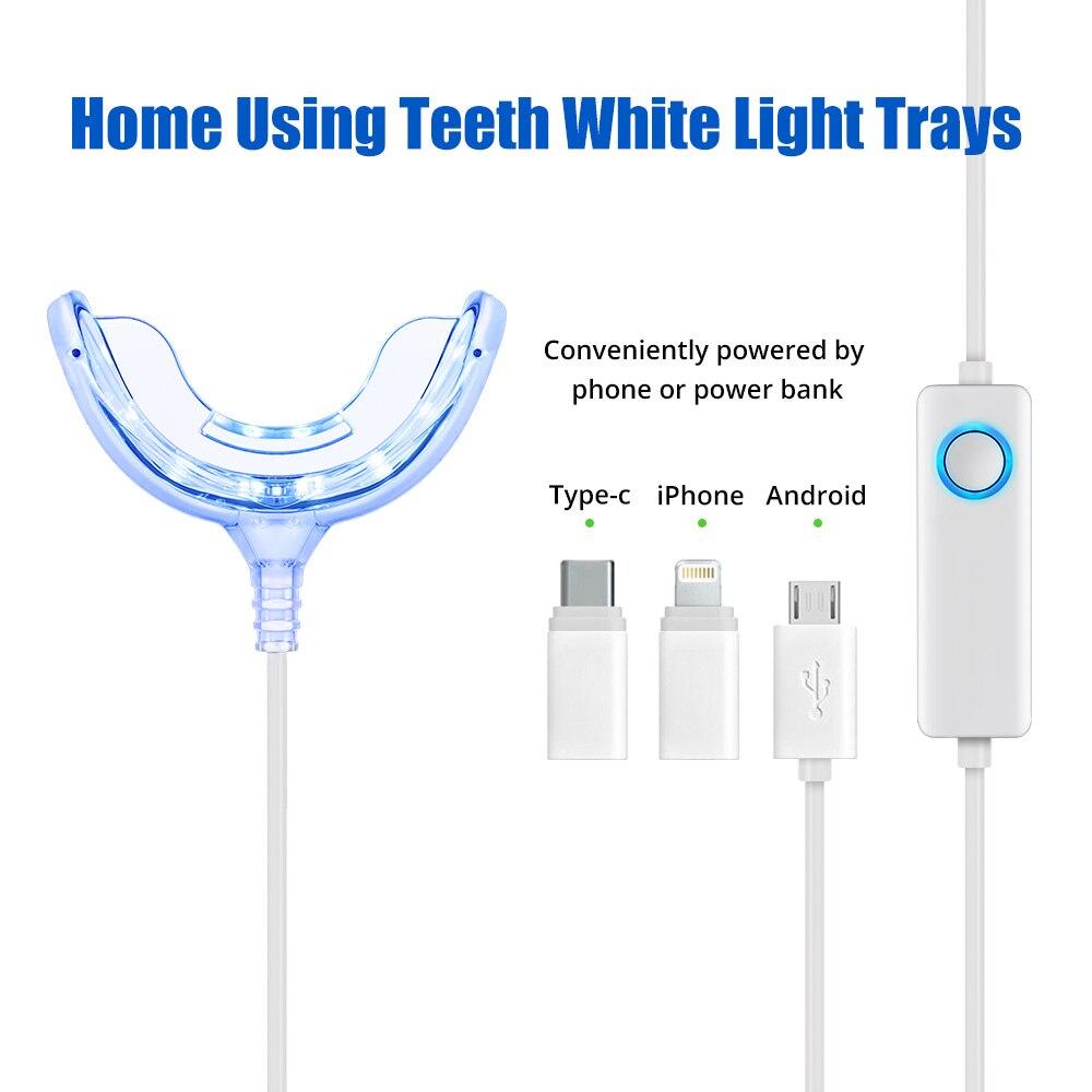 Tongwode inteligente dentes branqueamento dispositivo cronometragem com luz azul frio led branqueamento dental para android ios tipo-c