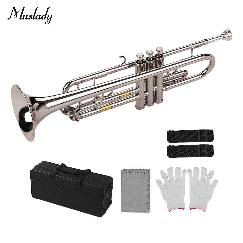 Muslady Standard Bb trompette en laiton matériel nickelé Instrument à vent avec embout porter sac gants chiffon de nettoyage