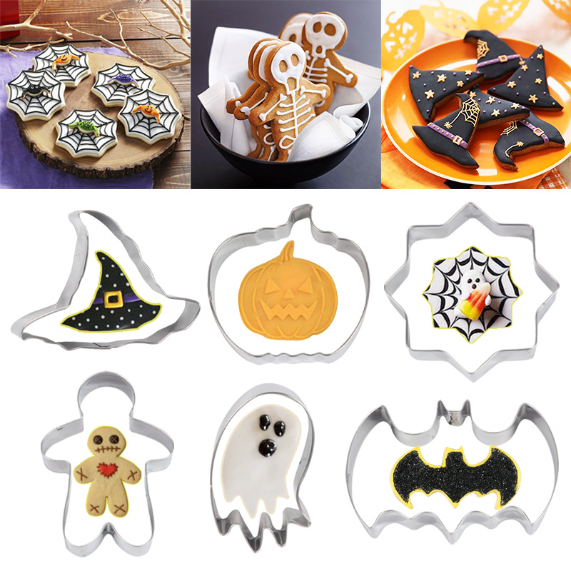1pcs Halloween Stainless Cookie Cutter Pumpkin Ghost Spider Web Bat Biscuits Baking Tools Cut Mold for Halloween Decoration