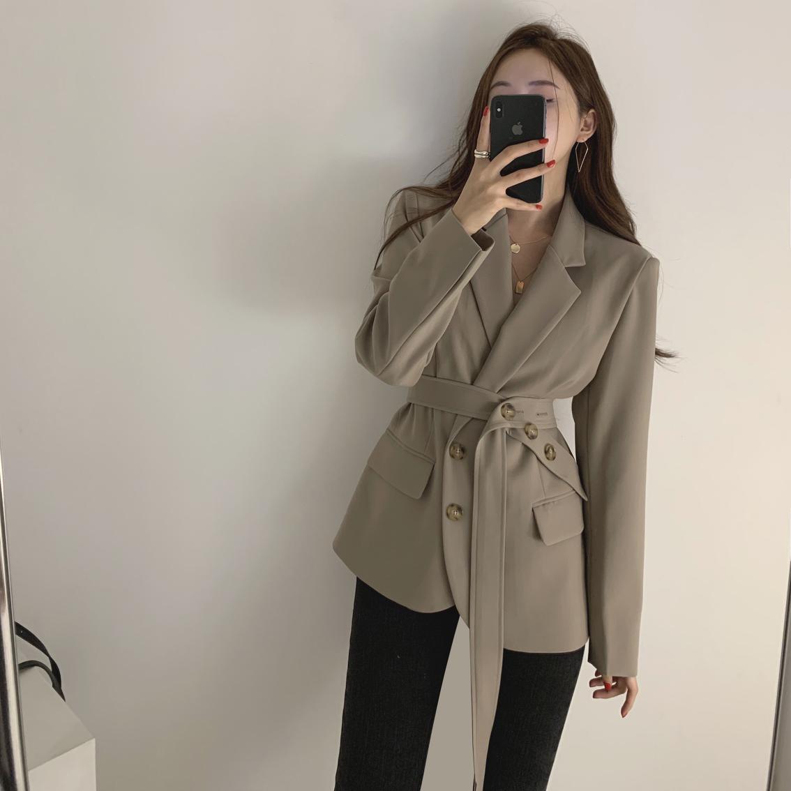 Women Lace Up Blazer Coat Slim Female Suit Jacket Elegant Office Lady Work Style  Outerwear Femme Autumn Blazer