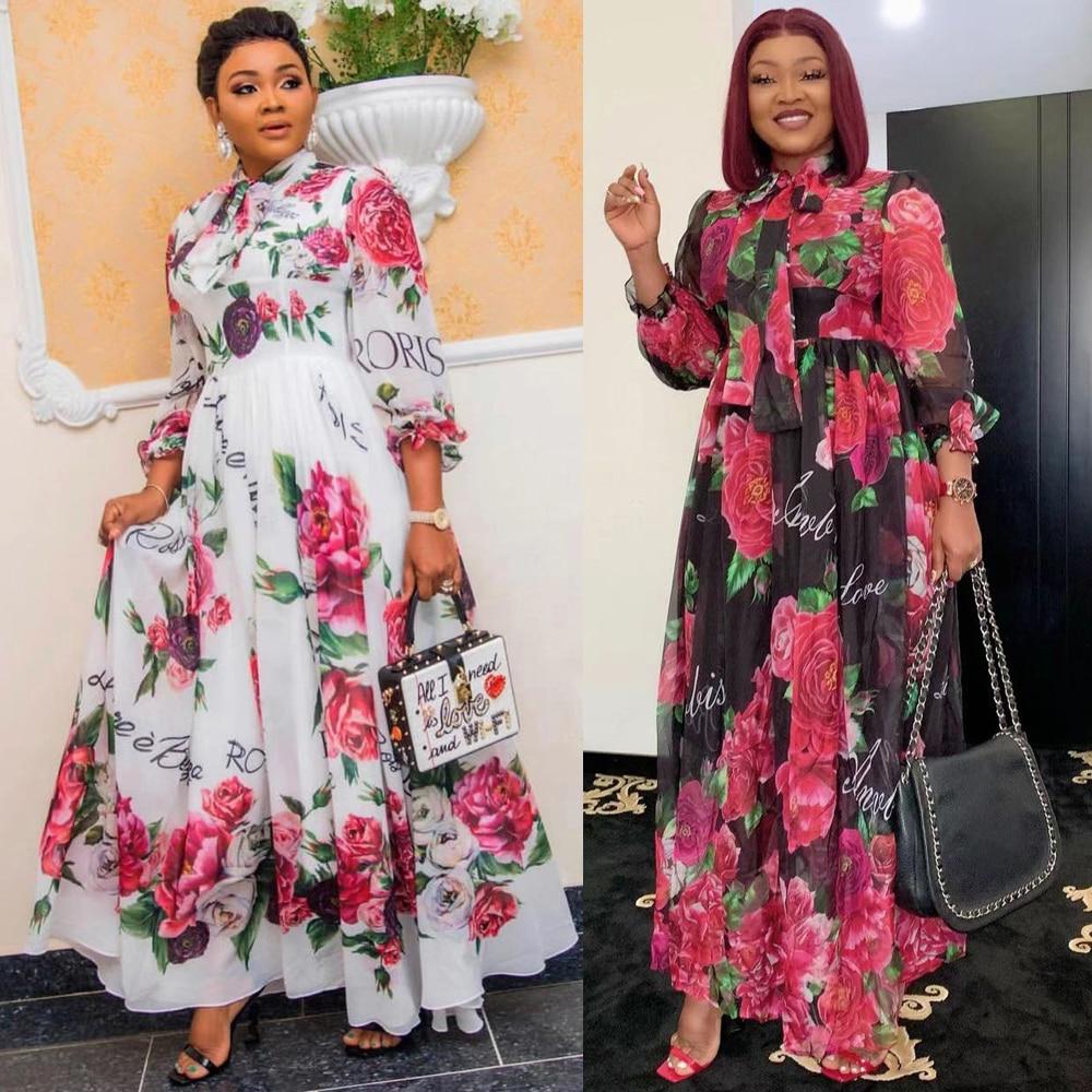 MD Dinner Dresses For Women 2021 New African Spring Summer Elegant Gown Flowers Printed Dashiki Long