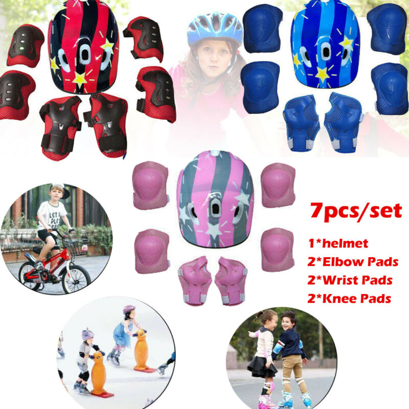 7Pcs Ice Skating Protective Gear Bicycle Kid Helmet Child Sports Safety Scooter Cycling Set