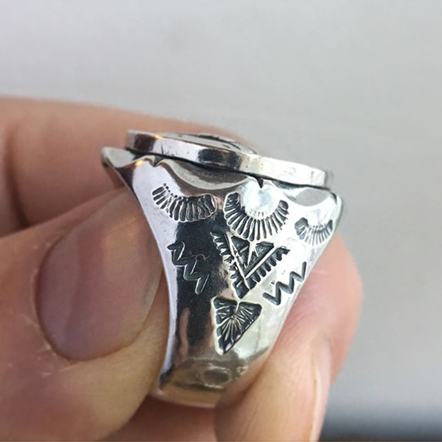 Indian biker skull signet ring